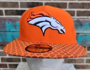 Denver Broncos New Era 59Fifty NFL Mens Onfield Baseball Cap Orange 7 1/2 New