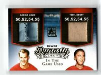 2015-16 Leaf ITG Used Dynasty Duo Gordie Howe Ted Lindsay Patch Jersey Gold 1/5
