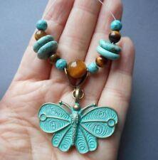 "14 beads focal set-1.5"" patina tone brass Butterfly pendant"