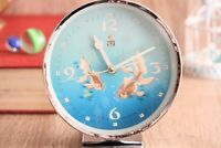 Vintage Alarm Clock Large Blue Metal Chinese Wind Up Retro Bedside Kid's Clock