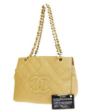 Auth CHANEL CC Logo PST Quilted Chain Shoulder Bag Caviar Leather BG 90BG841