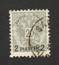 """AUSTRIA-ÖSTERREICH-USED STAMP-OVERPRINT """"2 PIASTER""""-1888."""