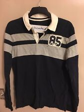 Tommy Hilfiger Kid's 85 Long Sleeve Polo Shirt Dark Blue/Off-White/Grey Size 16