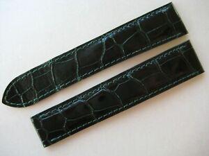 GENUINE CARTIER WATCH STRAP BAND DARK GREEN SHINY ALLIGATOR LEATHER 18.50 /16 mm
