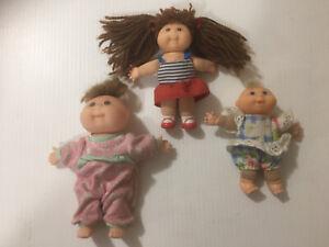 Vintage Mini Cabbage Patch Kids  Lot of 3 Dolls 1995 -5inch 12cm
