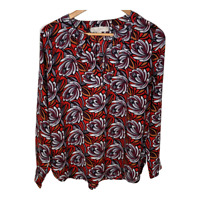 Ann Taylor Loft Womens Long Sleeve Top V Neck Shirt Blouse Shirt Print Size XS