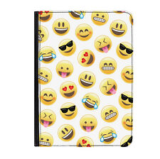 """Emoji Pattern Smiley Face Funny Universal Tablet 9-10.1"""" Leather Flip Case Cover"""