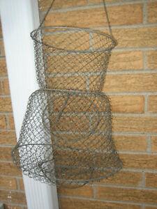 Vintage Metal Wire Fishing Basket Primitive Home Bar Store Business Decoration