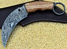 Custom Hand Made Damascus steel Hunting karambit Knife With Olive Wood Handle.