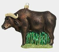 African Cape Buffalo Polish Blown Glass Christmas Ornament Wildlife Decoration