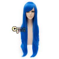 Long Wavy Dark Blue 80cm Heat Resistant Women Wig Anime Cosplay Wig + Free Cap