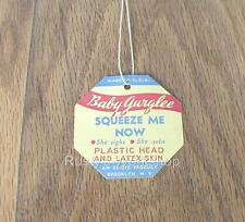 1950 Eegee Baby Gurglee doll Wrist Hang Tag (Reproduction)