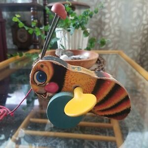 Vintage 1950s Fisher Price Buzzy Bee 325 Pull Toy
