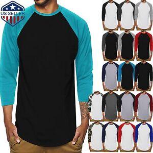 Mens Raglan Baseball T-Shirts 3/4 Sleeve Basic Casual Team Family Tee Sports
