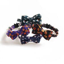 Halloween Pumpkin Ghost Cat Collar Bow Tie  Adjustable Buckle Puppy Pet Collar