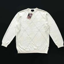 Phat Farm Men Sweater Pullover Size XL Argyle 100% Cotton Off-White Ivory