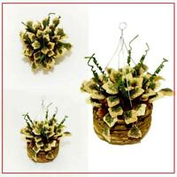 1/12 Dollhouse Miniature Accessories Mini Hanging Plant Basket Yellow