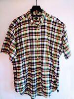Ralph Lauren Mens Size XL Blaire Short Sleeve Button Down Collar Plaid Shirt