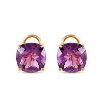 Genuine Amethyst Cushion Cut Gemstones French Clip Studs 14K Solid Gold Earrings