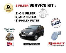 FOR NISSAN ALMERA TINO 1.8 2.0 2.2 MPV 2000-2006 NEW OIL AIR POLLEN FILTER KIT