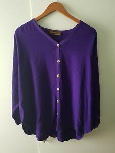Hampstead Bazaar Purple Cardigan One Size Button Batwing Casual Lounge Autumn