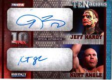 TNA Jeff Hardy & Kurt Angle 2012 TENacious RED Dual Autograph Card SN 5 of 10
