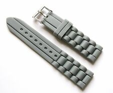 20mm Silicone Rubber Watch Band Strap - Grey with Stainless Steel Buckle