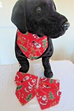 Handmade Red Father Christmas Print Dog or Cat Bandanna sizes XS - XL