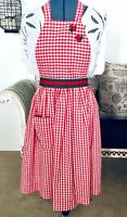 Vintage Country Christmas Full Apron Red Gingham Handmade Grosgrain Ribbon