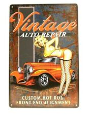 New Vintage Style Auto Repair Pinup Girl Tin Sign Art Retro Man Cave Car Garage