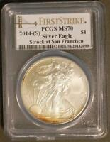 2014(S) $1 Silver Eagle Struck at San Francisco PCGS MS70 First Strike *Toning*