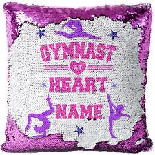 Personalised Gymnastics Sequin Cushion Cover Magic Girls Birthday Gift MC029