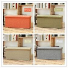 NEW 2-SEATER LARGE OTTOMAN FAUX LINEN FOLDING STORAGE BENCH TOY BOX POUFFE