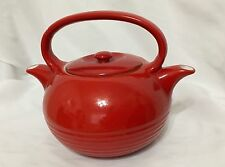 TWINSPOUT Tea Master Teapot Double Spout Banded Ribbed Base Red/Orange USA