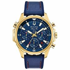 Bulova 97B168 Marine Star Men's Chronograph Blue Silicone Blue leather Watch