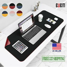Leather Black Red Desk Mat Large Bubm Pu Mouse Pad 32x16 Edge Wear Spill Proof