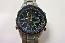 "Citizen Blue Angel World Chronograph Eco Drive date Wrist Watch * 8"" wrist"