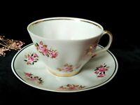 Vintage tea CUP & SAUCER Soviet Thin bone Porcelain RPR Riga Floral Coffee USSR