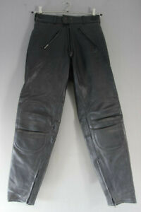 RHINO BLACK COWHIDE LEATHER BIKER TROUSERS - WAIST 28 INCH/INSIDE LEG 30 INCH
