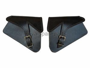 Royal Enfield Genuine Leather Pannier Bags D1 Black For Interceptor 650