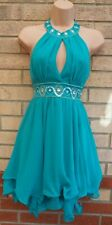 LIPSY TURQUOISE GREEN BEADED HALTERNECK RUFFLE WIGGLE SKATER PARTY DRESS 8 S