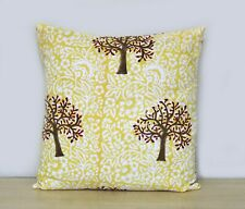 "16"" Indian Yellow Brown Floral Hand Block Print Cushion Cover Pillow Case Covers"