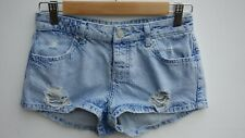 Gorgeous TOPSHOP 'Daisy' Ladies Pale Blue Ripped Hotpants / Shorts size UK 8