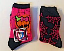 Ladies Monster High Crew Socks 2 Pair Ladies Sz 9-11 Orange Pink Mattel New