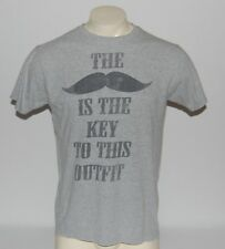 Mustache T-Shirt Key To This Outfit Mens Large Gray Moustache Hipster Funny TEE