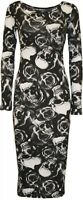 NEW LADIES BLACK WHITE SKULL AND ROSE LONG SLEEVE MIDI DRESS PLUS SIZE 6-20