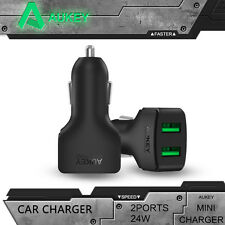 Aukey 24W Fast Mini USB Car Charger Dual Port Quality For Vehicle Cigar Lighter