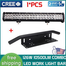 "20inch 126W Led Light Bar+23"" Bull Bar Front Bumper License Plate Mount Bracket"