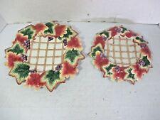 "Fitz & Floyd Classics Autumn Splendor 9"" & 10.5"" Plates Lattice Grapes & Leaves"