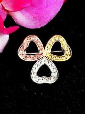 EXQUISITE MONET GOLD-TONE CITRINE ROSE PINK CRYSTAL RHINESTONE 3 HEART BROOCH